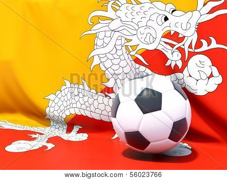 Flag Of Bhutan With Football In Front Of It
