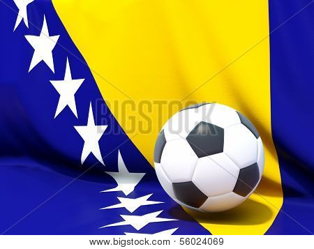 Flag Of Bosnia And Herzegovina With Football In Front Of It