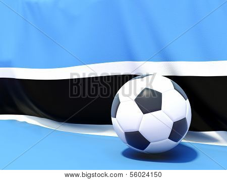 Flag Of Botswana With Football In Front Of It