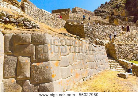 Ollantaytambo, Peru, Inca Ruins  And Archaeological Site In Urubamba, South America.  It Was Royal E