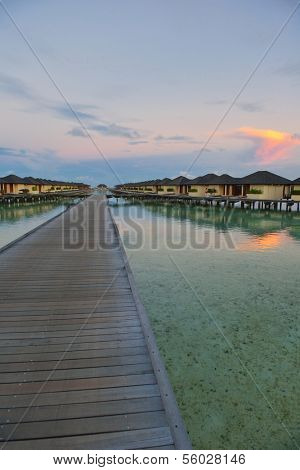 tropical water home villas resort  on Maldives island at summer vacation