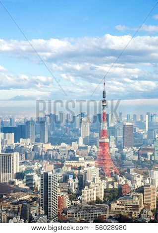 Tokyo Tower with skyline in Japan