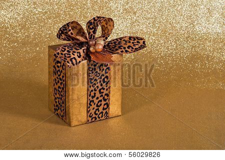 Festive gift wrapped present