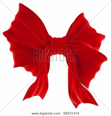 Red Velvet Gift Bow. Ribbon. Isolated On White