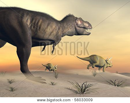 Triceratops escaping from tyrannosaurus- 3D render