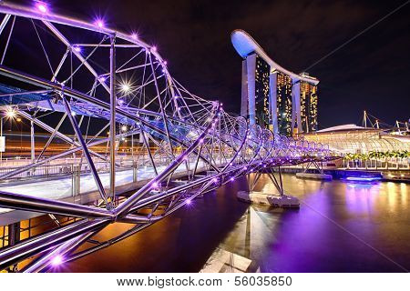The Helix bridge with Marina Bay Sands in background, Singapore