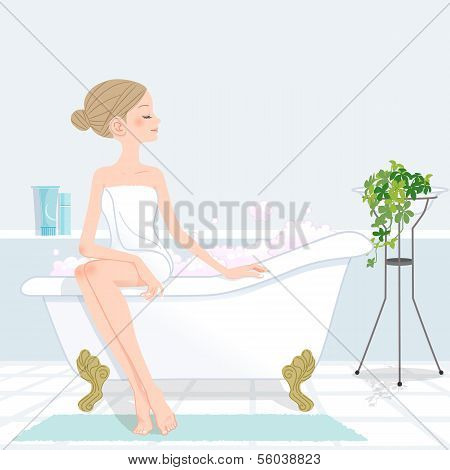 Young Woman Sitting Bathtub Filled With Pink Bubble