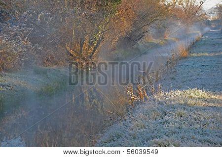 Winter stream landscape