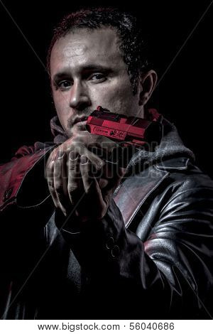 Mafia, thief, armed man with black leather jacket, dangerous