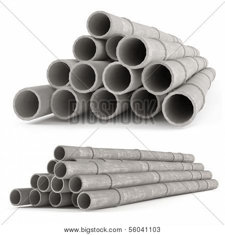 Industrial concrete pipes. Tubes