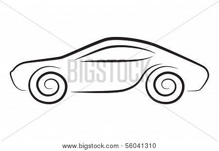 Vector Silhouette Of Conceptual Car