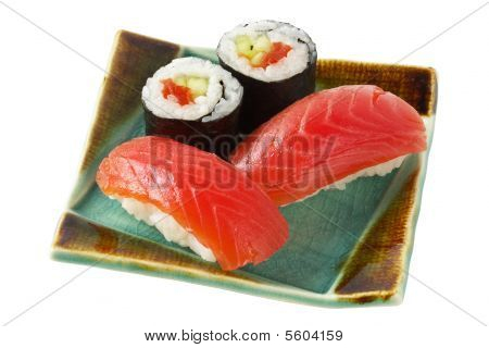 Sushi  And Roll With Salmon Isolated Over White Background (path Isolated)