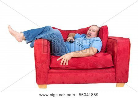 Man Engrossed In Watching Television