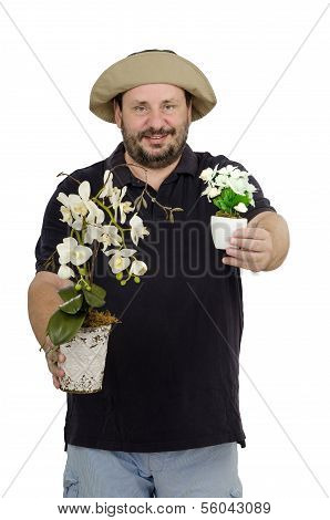 Gardener With Two Flower Pots
