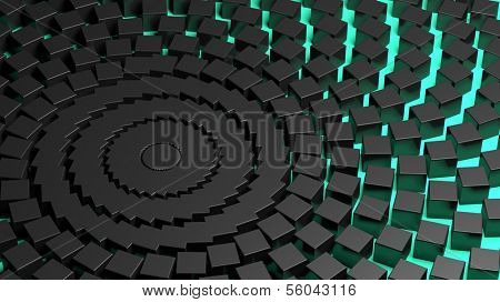Abstract turquoise with black centrifuge background