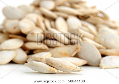 Extreme close-up image of pumpkin seeds