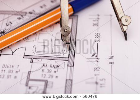 Compass On Blueprint