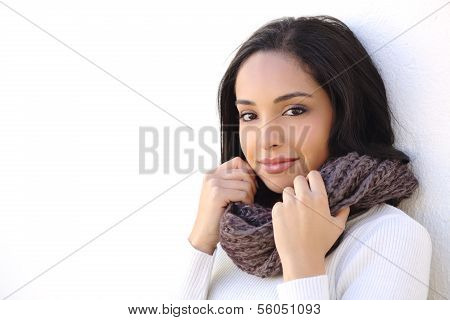 Facial Of A Sexy Woman Smooth Face In Winter