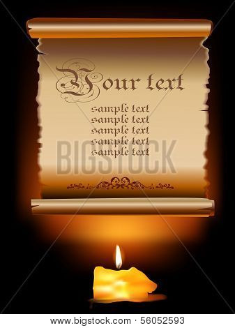 Illustration of Old Paper Scroll With Candle .