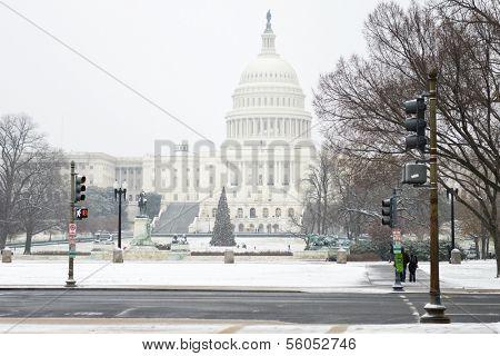 U.S. Capitol Building in snow blizzard - Washington DC, United States