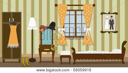 illustration of vintage bedroom