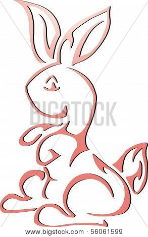 cute pink rabbit on white background
