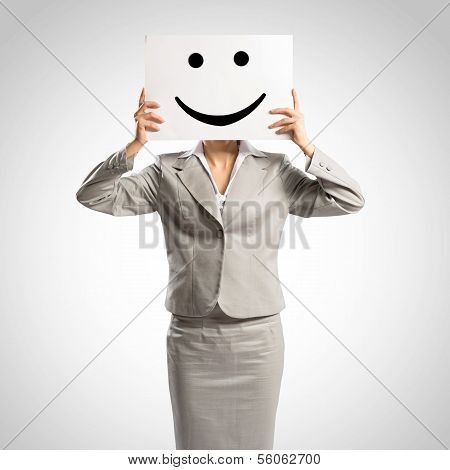 business woman holding a poster
