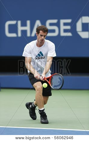 Two times Grand Slam champion Andy Murray practices for US Open 2013 at National Tennis Center