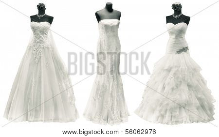 Three Wedding Dress Isolated with Clipping Path