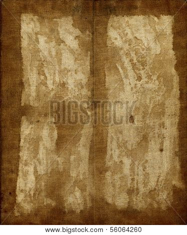 Vintage fabric glued on paper background
