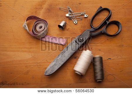 Scrapbooking Craft Materials/ Background With Sewing Tools And Colored Tape/sewing Kit. Scissors, Bo