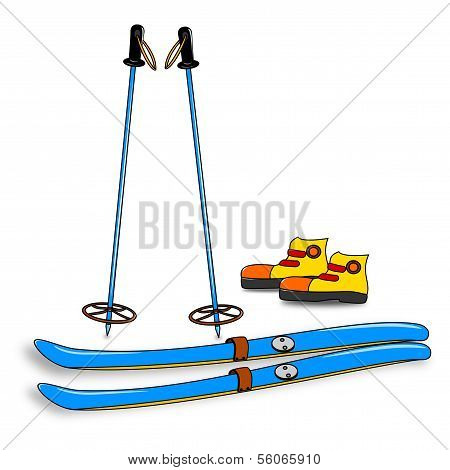 Equipment for skiers - skis, boots, poles
