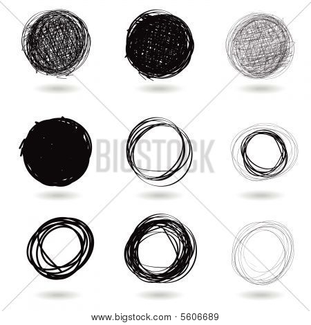 Series of pencil drawn circles