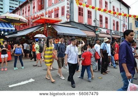 Visitors visit Chinatown in Singapore to shop for souvenir