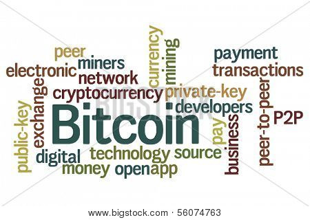 Bitcoin word cloud with white background