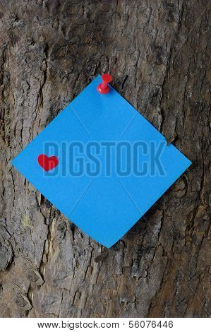 Blue Valentine Note On A Tree Trunk