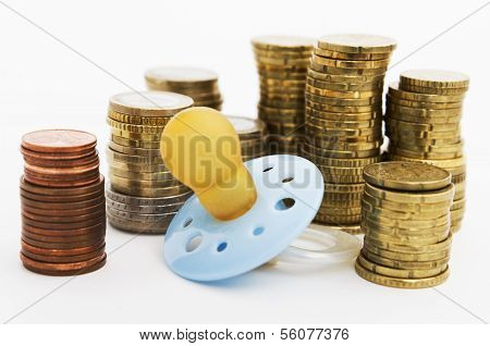 Pacifier With Hard Money In Background