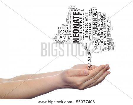 Concept or conceptual black neonate education text word cloud or tagcloud as a tree on man or woman hand isolated on white background