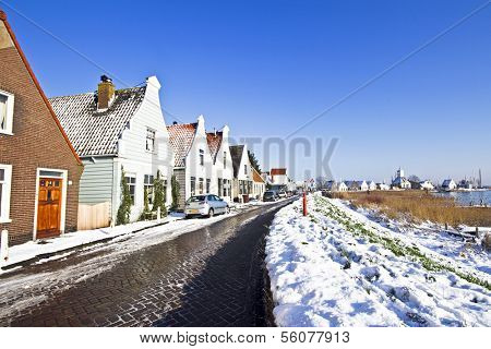 Typical dutch village Durgerdam in winter in the Netherlands