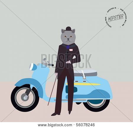 Fashionable hipster cat on a retro scooter