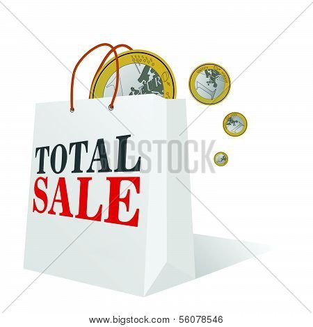 Total Sale With Euro Color Vector Illustration