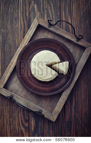 Round Cheese On Vintage Tray