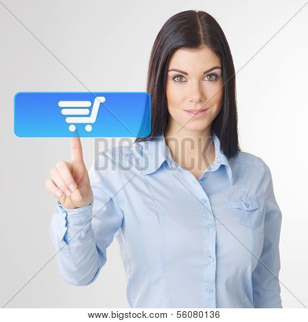 Woman Touching virtual button