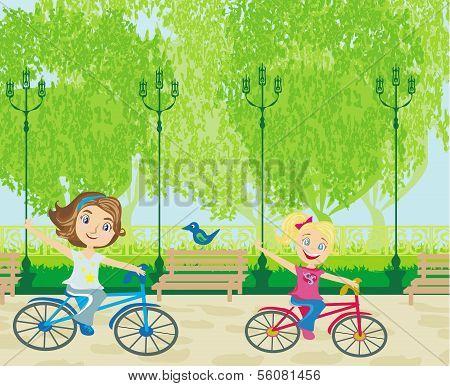 Children Biking In The Park