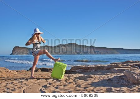 Lost Young Blond Woman At Seaside