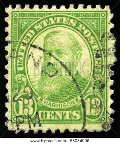 Vintage Us Postage Stamp Of President Harrison