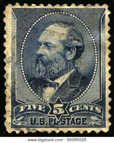 Vintage Us Postage Stamp Of President Garfield (1880S)