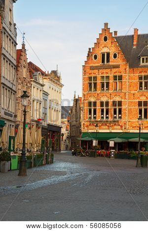 Medieval buildings on the Market Square, Brugge
