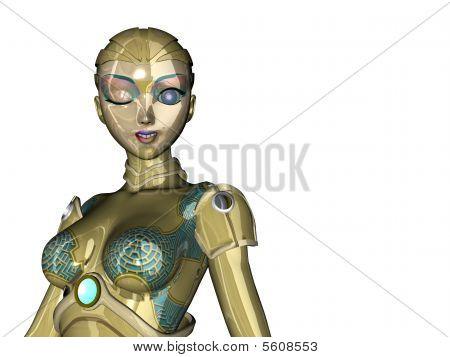 Robot Woman Winking