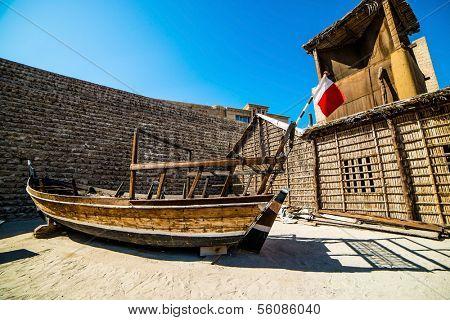 old boat on near fahidi fort, dubai, united arab emirates